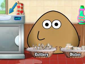 Pou Washing Dishes