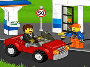 Lego Car At Gas Station